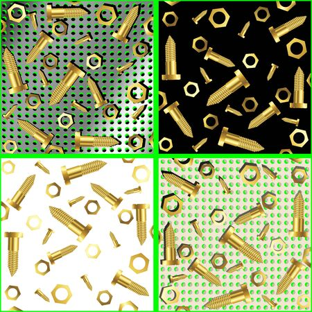 screws and nuts composition, abstract art illustration Stock Illustration - 7325782