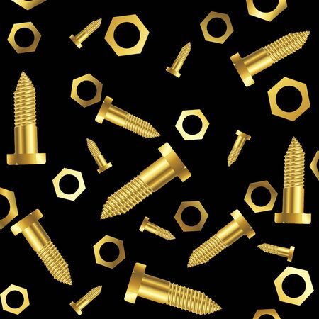 screws and nuts composition over black background, abstract art illustration Stock Illustration - 7325458