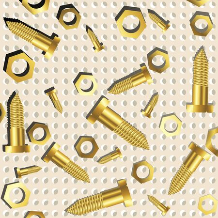 screws and nuts over metallic texture, abstract art illustration Stock Illustration - 7325603