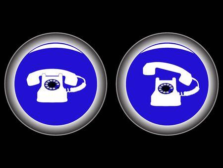 telephone blue icons against black background, abstract art illustration Stock Illustration - 7324332