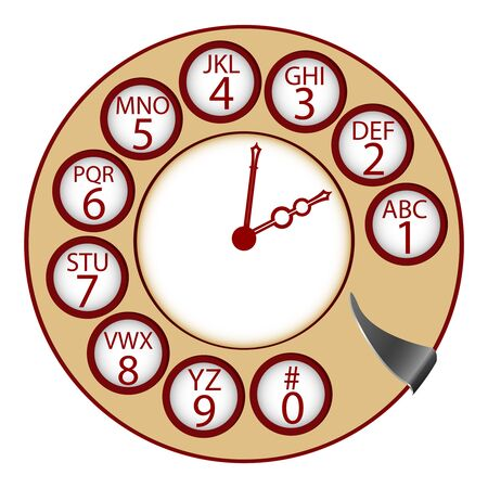 the telephone clock concept, abstract art illustration Stock Illustration - 7323843