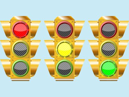 three different traffic lights, abstract composition over sky color background, art illustration illustration