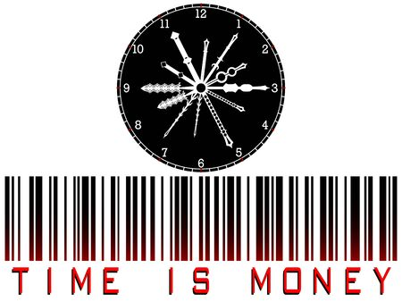 time is money bar code against white background, abstract art illustration illustration