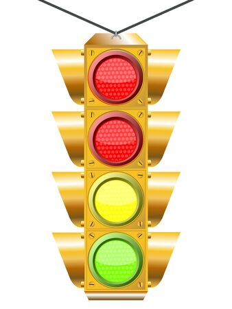 traffic light with four lights against white background, abstract art illustration Stock Illustration - 7325015