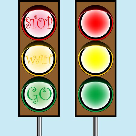 traffic lights cartoon, abstract art illustration Stock Illustration - 7324465