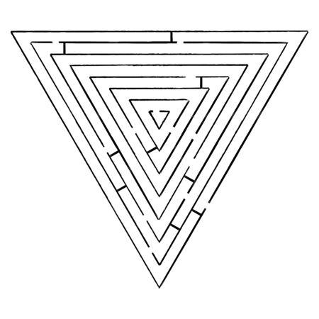 triangle black maze against white background, abstract art illustration illustration