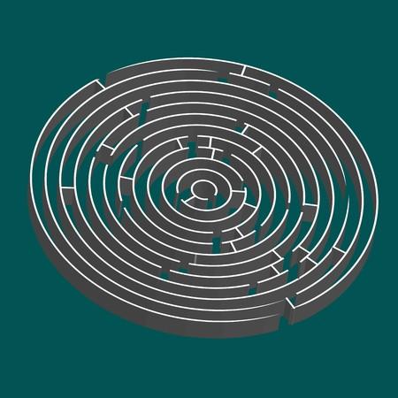 tridimensional round maze, art illustration, easy to change colors illustration