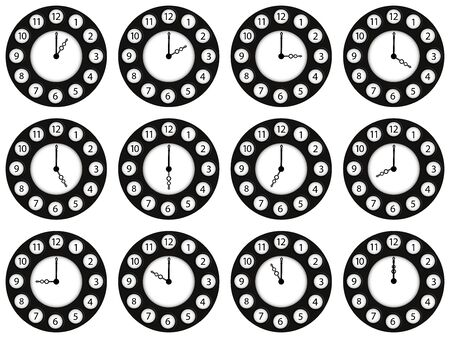 twelve clocks showing different ours against white background, abstract art illustration