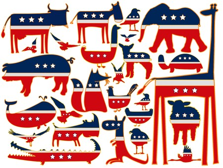 animals against white background, with stylized american flag, abstract art illustration illustration