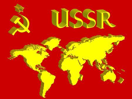 ussr symbol and world map, abstract art illustration illustration