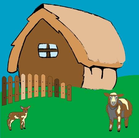 Dorps huis en boerderij dieren, kunst illustratie