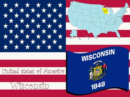 wisconsin state illustration, abstract art
