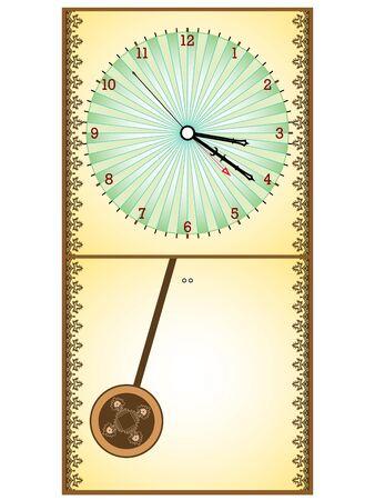 reloj de pendulo: reloj de p�ndulo madera sobre fondo blanco, ilustraci�n de arte abstracto  Foto de archivo
