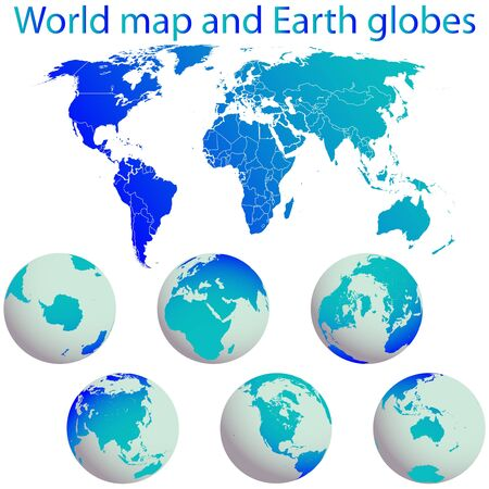 world map and earth globes against white background, abstract art illustration
