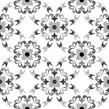 black and white seamless floral pattern, art illustration Stock Photo