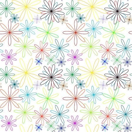 colored flowers abstract pattern extended, seamless texture,   art illustration