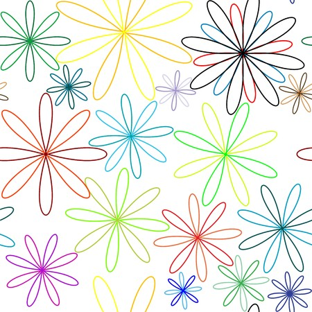 fleur: colored flowers seamless pattern, abstract texture,  art illustration