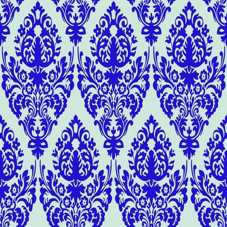 damask blue seamless texture, abstract pattern,  art illustration