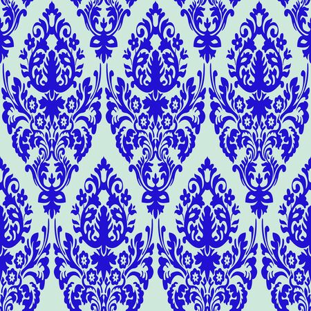 damask blue seamless texture, abstract pattern,  art illustration