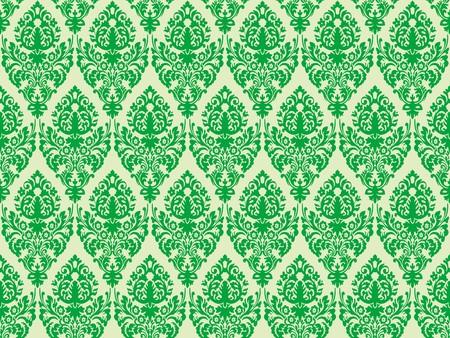 venetian victorian: green damask seamless texture, abstract pattern,  art illustration