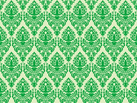 green damask seamless texture, abstract pattern,  art illustration
