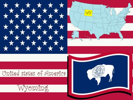 wyoming state illustration, abstract art Stock Photo