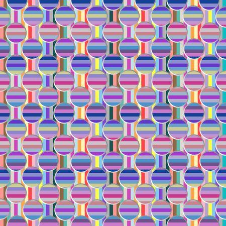 metallic circles and stripes pattern, abstract seamless texture, art illustration Stock Illustration - 7336289