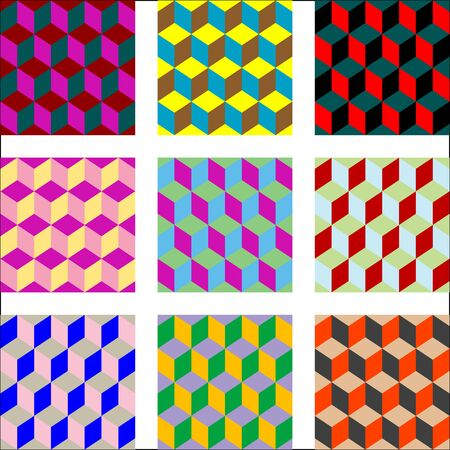 nine different versions of psychedelic patterns, art illustration, easy to change colors Stock Illustration - 7336179