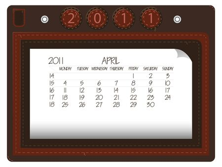 april 2011 leather calendar against white background, abstract  art illustration illustration
