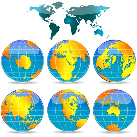 world globes against white background, abstract vector art illustration