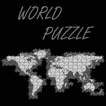 world puzzle map, abstract vector art illustration Illustration
