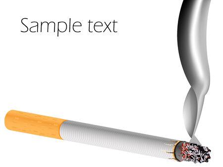 carcinogen: filter cigarette against white background, abstract vector art illustration