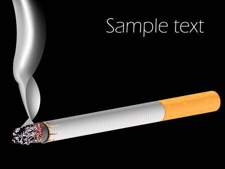 carcinogen: filter cigarette against black background, abstract vector art illustration Illustration