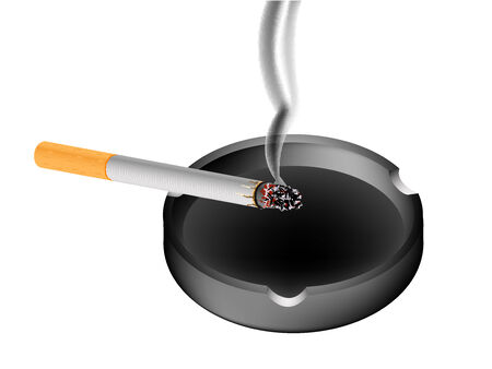smoky cigarette and ashtray against white background, abstract vector art illustration Ilustração