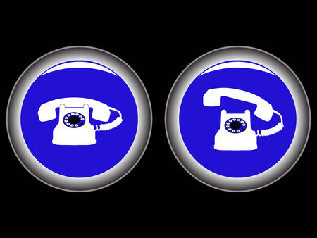 telephone blue icons against black background, abstract vector art illustration Stock Vector - 7417342