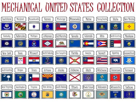 pennant: mechanical united states flags collection against white background, abstract vector art illustration