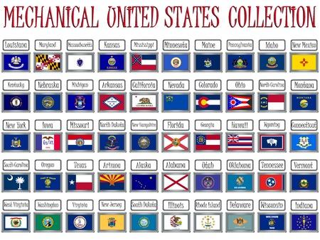 Mechanische Vereinigte Staaten-Flags-Auflistung vor weißen Hintergrund, abstrakten Vektor Kunst-illustration  Standard-Bild - 7417409