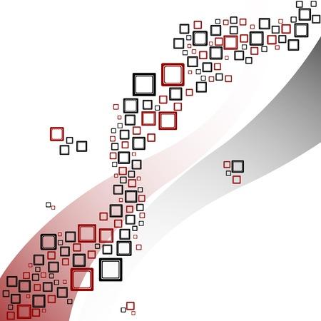 正方形と波のパターン、抽象的なベクトル アート イラスト