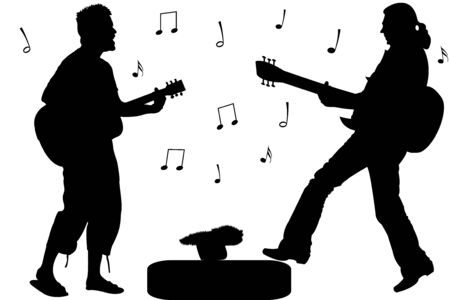 guitar rock stars, abstract singers silhouettes against white background; vector art illustration