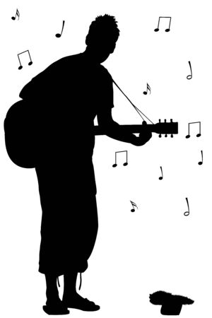 man with guitar silhouette, abstract vector art illustration Vector