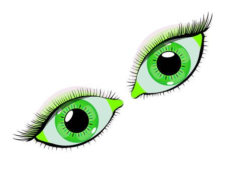 抽象的なベクトル アート イラスト白い背景の緑の目  イラスト・ベクター素材