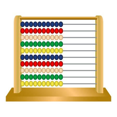 wooden abacus against white background, abstract vector art illustration Ilustração