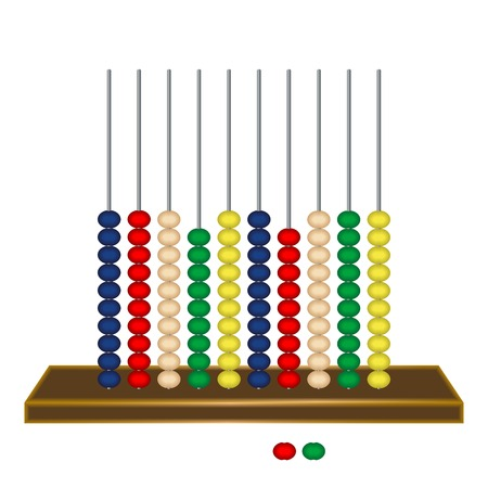 vertical abacus against white background, abstract vector art illustration Vector