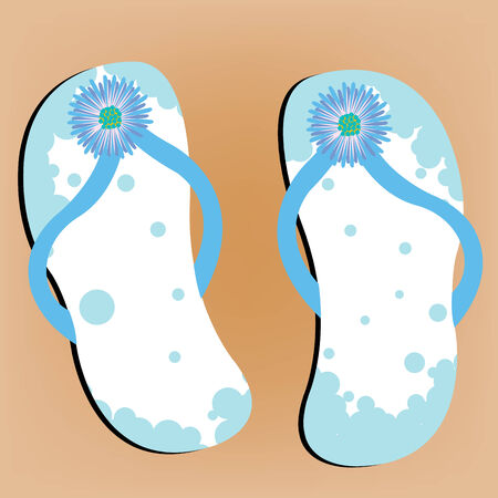 flops: flip flops on sandy beach, abstract vector art illustration Illustration