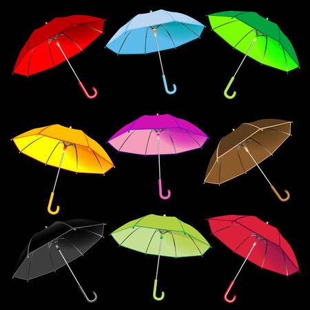 umbrellas collection against black background, abstract vector art illustration