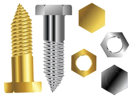 bolts and nuts: screws against white background, abstract vector art illustration