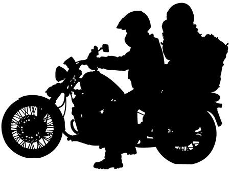 motor fiets en fietsers silhouetten tegen witte achtergrond, abstract vector kunst illustratie