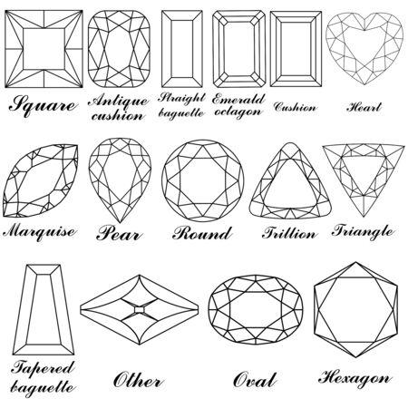 pietre preziose: forme di pietre e i loro nomi su sfondo bianco, illustrazione di arte astratta  Vettoriali