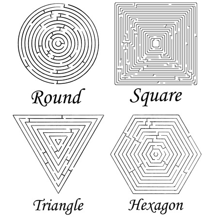 four mazes shapes against white background, abstract art illustration