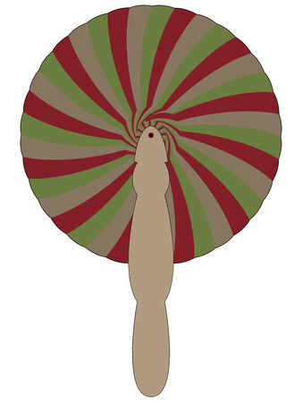 concertina: bamboo fan against white background, abstract art illustration